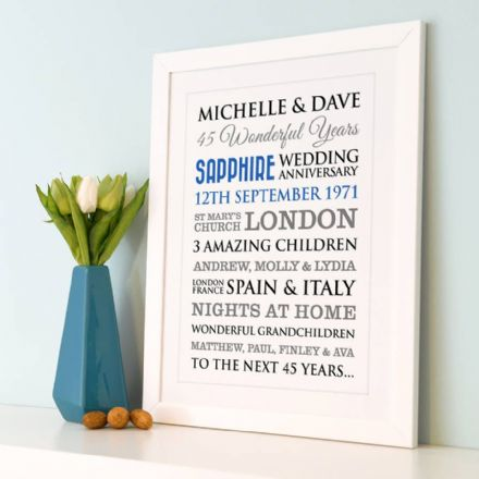 Personalised Sapphire Wedding Anniversary Art